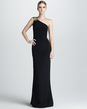 Embroidered One-Shoulder Gown by Notte by Marchesa at Bergdorf Goodman.