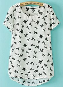 White Short Sleeve Lightning Print Dipped Hem T-Shirt