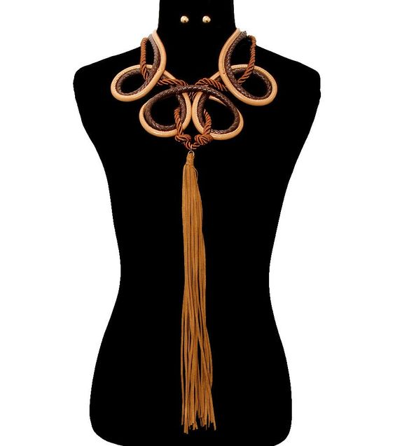 BIG FAUX LEATHER/SUEDE Statement EGYPTIAN TASSEL CHOKER Necklace
