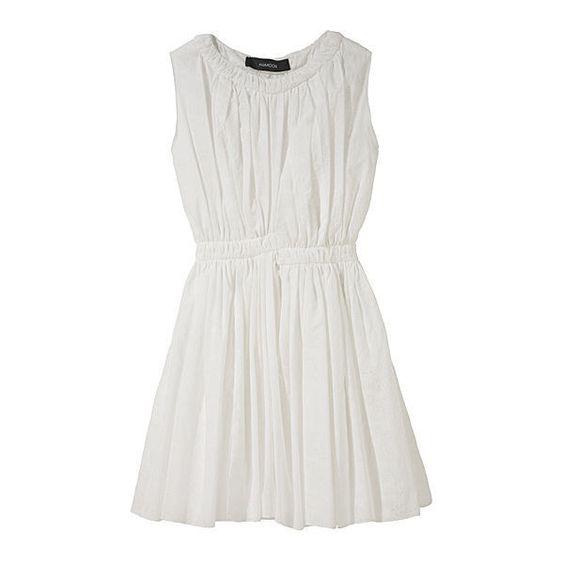 Shadow Print Smocked Dress ($431) ❤ liked on Polyvore featuring dresses, vestidos, vestiti, haljine, women, ruched dress, white shift dress, sleeveless dress, smocked dresses and cotton sleeveless dress