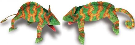 Easy-To-Build Chameleon Paper Model - by Education Scholastic  ==    Education Scholastic Chameleon Paper Model  This Chameleon paper model is very easy-to-build, so it is perfect for kids and school works. In the end of this post you will find another version of a Chameleon, more realistic, by Raspera website.