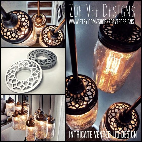 Handcrafted Mason Jar Pendant Chandelier with hardwood crate canopy For 2015 new year - home decor, Mason Jar crafts