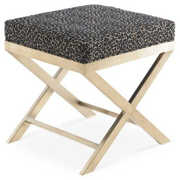 Check out this item at One Kings Lane! Modesto Ottoman, Black/Tan Leopard