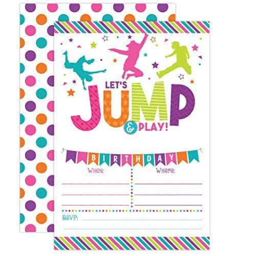 Colorful Jump And Bounce Party Invitations Two Sided Full Color