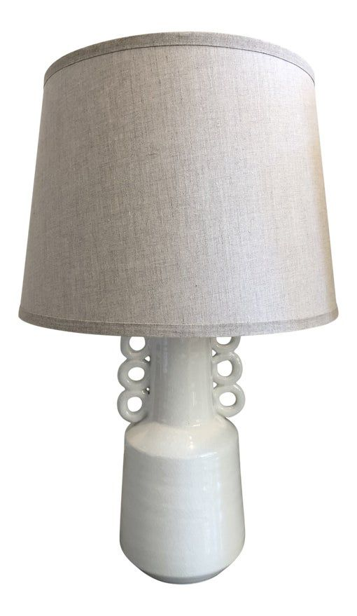 White Crackled Ceramic Circus Table Lamp With Beige Linen Lamp Shade On Chairish Com Table Lamp Lamp Linen Lamp Shades