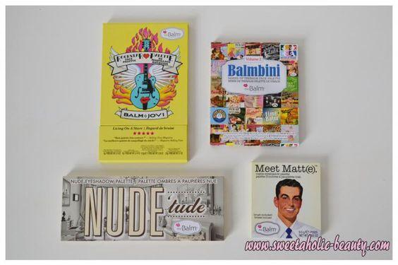 the Balm Balm Jovi palette, the Balm Balmbini palette, the Balm Nude 'Tude palette, the Blam Meet Matt(e) palette