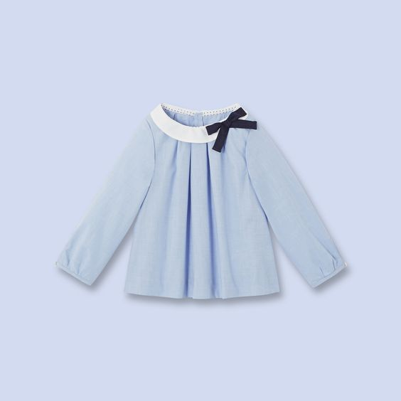 blouse en fil fil bleu blanc fille v tement b b. Black Bedroom Furniture Sets. Home Design Ideas