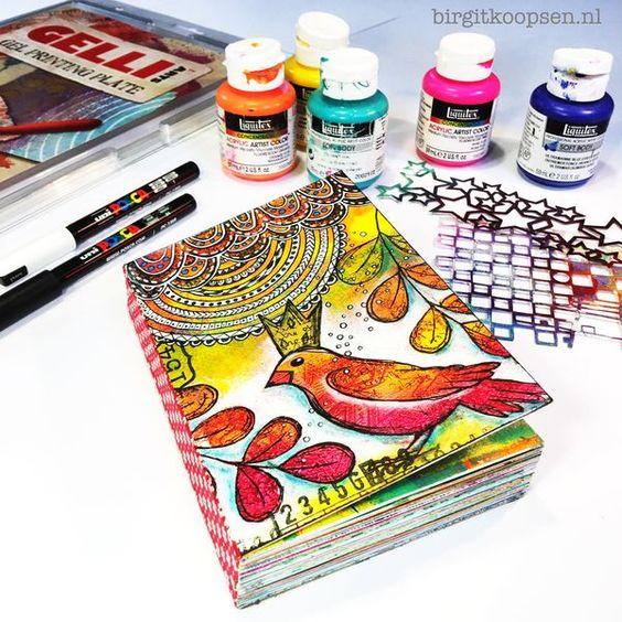 fabulous gelli printed art journal by the very talented Birgit Koopsen!