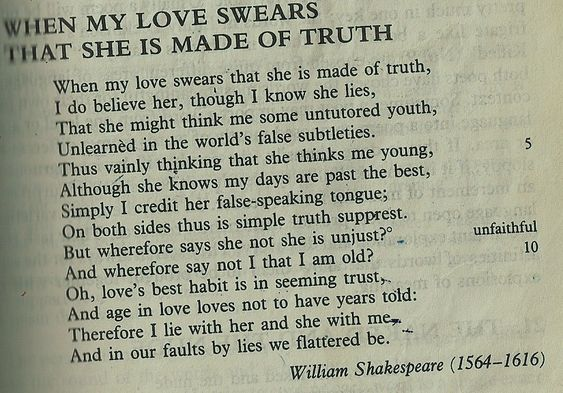 130 138 sonnet shakespeare These two sonnets may indeed be addressed to the dark lady of his sonnets,  and yes, she seems to be his lover however, 130 is much more.