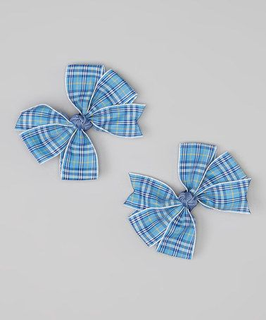 Look at this #zulilyfind! Blue Plaid Cartwheel Bow Clip Set by Loopy Loos #zulilyfinds