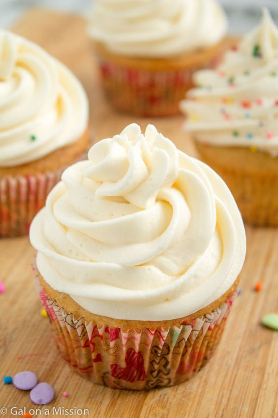 Vanilla Cupcakes with Vanilla Buttercream Frosting on galonamission.com | No need for boxed mixes anymore!