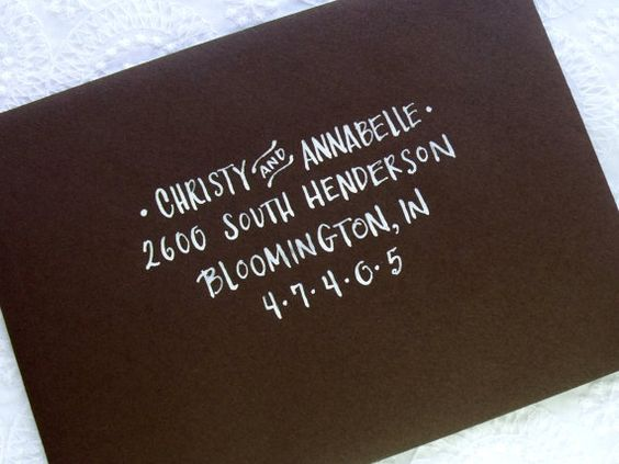 Envelope Address Calligraphy Service in Print. via Etsy.