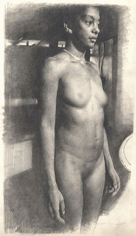 """Standing Female Front"" by Michael Grimaldi, nude African-American black woman…"
