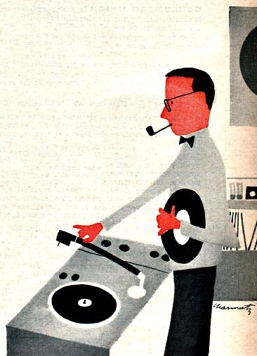 Nothing like the sound of music being played from a vinyl record and coming out of tinny speakers via a record player. 1959 illustration/Consumer Reports Magazine.