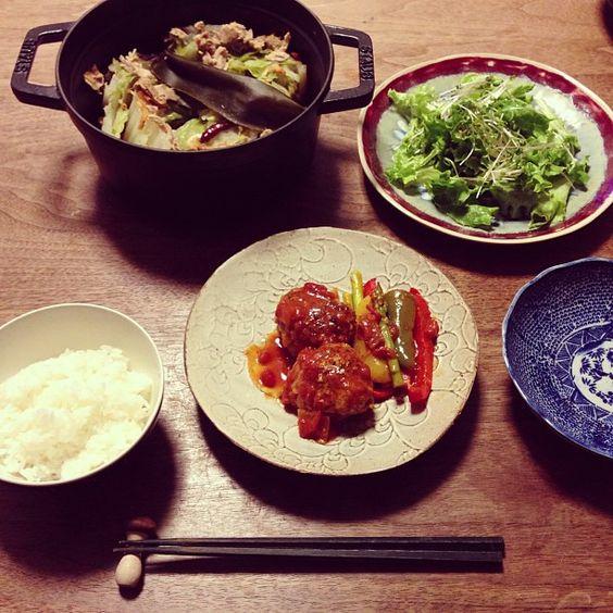 晩ごはん 煮込みハンバーグ 桜海老とツナの白菜蒸し #sakeat - @sakkn- #webstagram