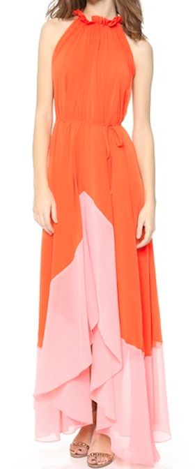 colorblock chiffon gown