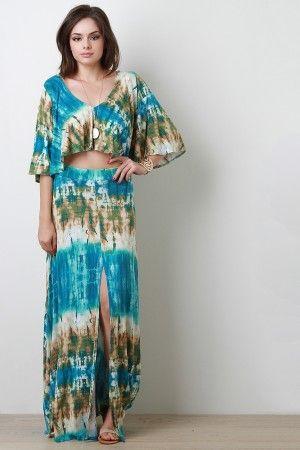Tie Dye Slit Maxi Skirt