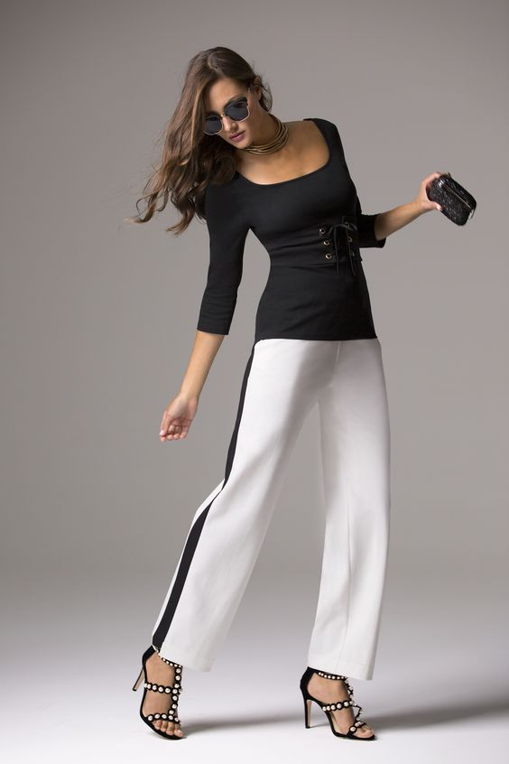 Trending Fashion | Women's Racer Stripe Track Pant by Boston Proper. Dress them up for a sophisticated street style or dress them down for a casual look.