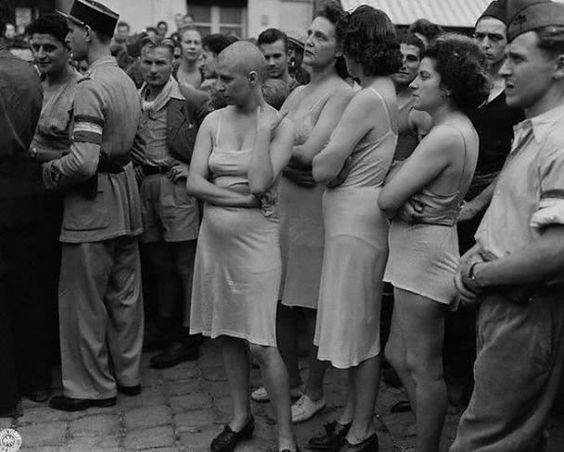 France was liberated in 1944, and women accused of having been collaborated with Nazi personnel, are humiliated in public. This may seem like a war crime to todays' audience, but during a time when people were overjoyed at seeing the Nazis leave, this image would have evoked feelings of victory.