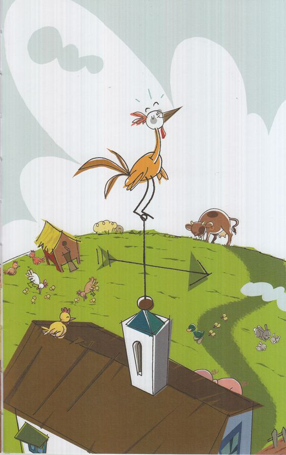 Ilustración de Toni Cabo para la obra Egallo despistado, de Teresa Broseta Fandos. El gallo Tomás vive en la granja, todos lo conocen como Gallo Despistado porque duerme de día y canta el ¡Quiquiriquí! de noche, despertando así al resto de animales. Como éstos no descansaban, la granja no funcionaba: las gallinas ponían menos huevos, las vacas daban menos leche y los cerdos adelgazaban... #LIJ #amistad #granjas