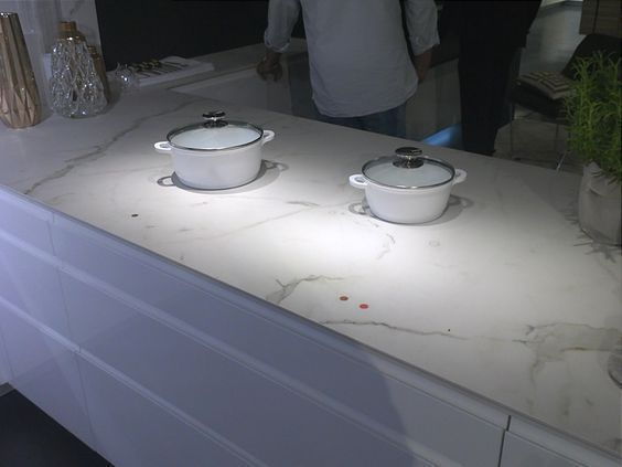 Induction Countertop Invisible Burners Integrated In The Kitchen