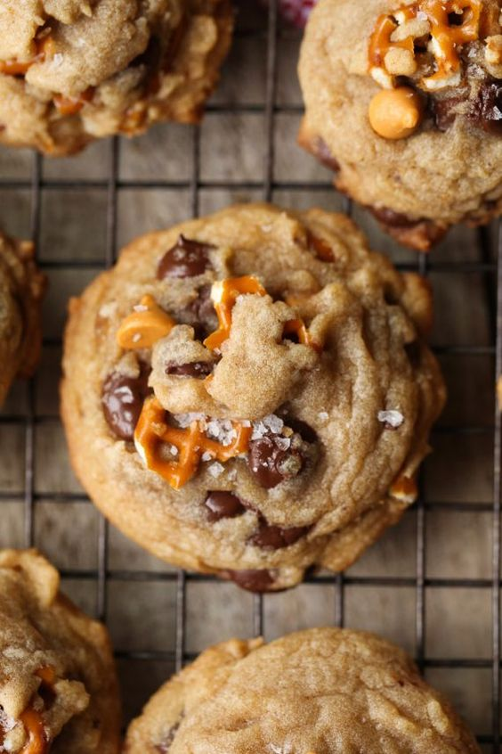 Sea Salt Butterscotch Pretzel Cookies are my new salty/sweet obsession! Browned Butter adds depth to the flavor while the butterscotch and chocolate chips keep things perfectly sweet!: