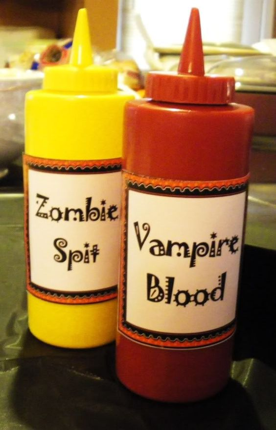 HALLOWEEN: ZOMBIE SPIT & VAMPIRE BLOOD - relabel all condiments - pickles, witches' warts, onions, ghost scabs, etc