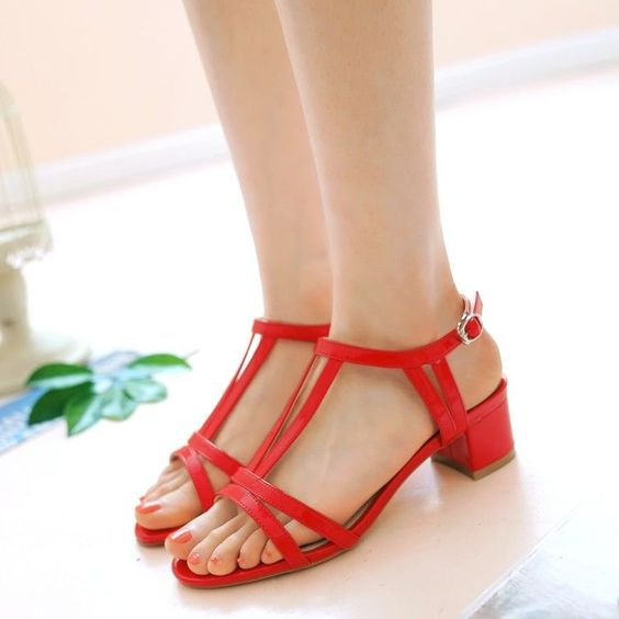 Women'S Open Toe Chuncky Blcok Heel Slingbacks T Strap Cut Out Sandals Shoes