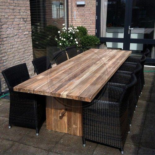 Prachtige houten (vintage teak) tafel met stoelen   Tuintafels   Pinterest   Teak, Vintage and Met