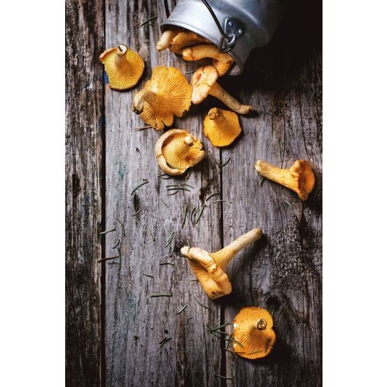 Chanterelle mushrooms ❤ liked on Polyvore featuring food and backgrounds