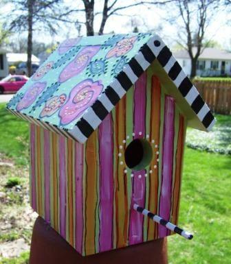 Mackenzie Childs Like Funky Handmade Wooden Birdhouse