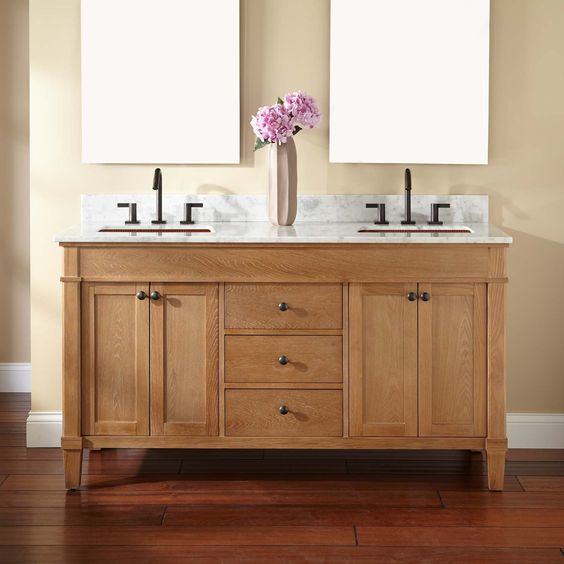 """60"""" Marilla Double Vanity for Rectangular Undermount Sinks"""