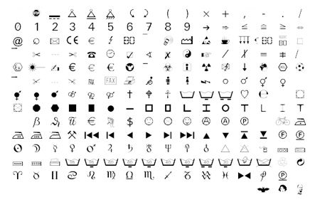 Microsoft Wingdings Font Design Patent puffy paint projects - sample wingdings chart