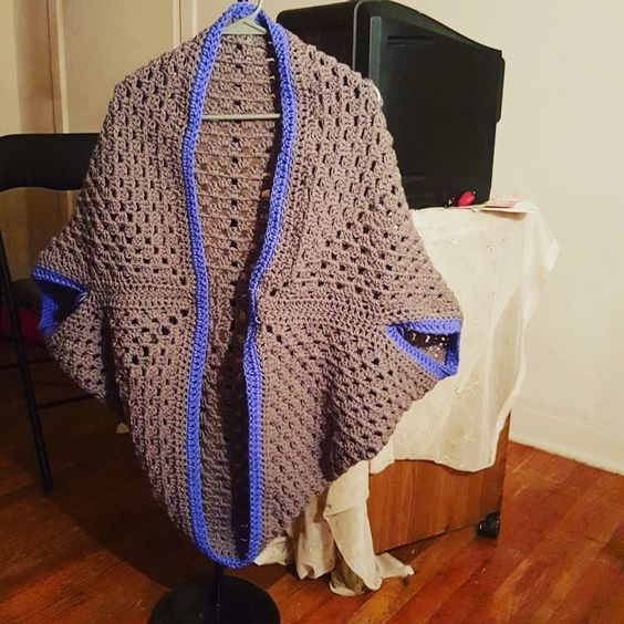 This is the Crochet Granny Square Cocoon Shrug I completed ...