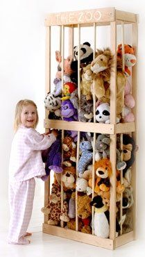The Zoo - Stuffed animal storage/display  I am going tohave tomake one ofthese.I have my siblings who I help raise so i have stuffies abound but not that many! Iwant to make one that looks art neuveux cast iron and paint Menagerie on it! It will be a nice addition to the toy corner.