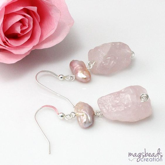 Rough Quartz Earring Pink Quartz Earrings by magsbeadscreation