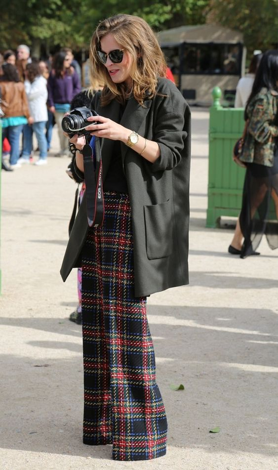 STREET STYLE PLAID TROUSERS TARTAN CHECKERED PANTS FASHION WEEK  ASOS TARTAN WIDE LEG TROUSERS ..WANT!!!: