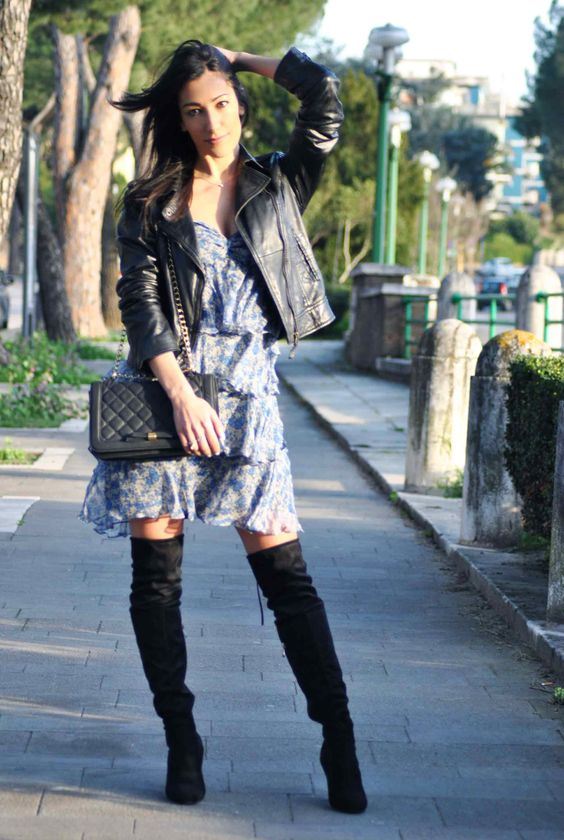 Abito con ruches & cuissardes, balze, volant, vestito, dress, stivali ginocchio, overknee, tendenze, trend, moda  outfit primavera 2016, spring, boots,  high heels, ootd, look, moda 2016, fashion, trend chic - outfit fashion blogger Heels Allure by Marianna Farese: