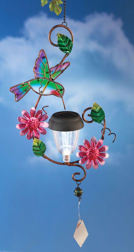 Solar Floral Hummingbird Hanger Outdoor Decoration Lights Lighting Yard  Garden