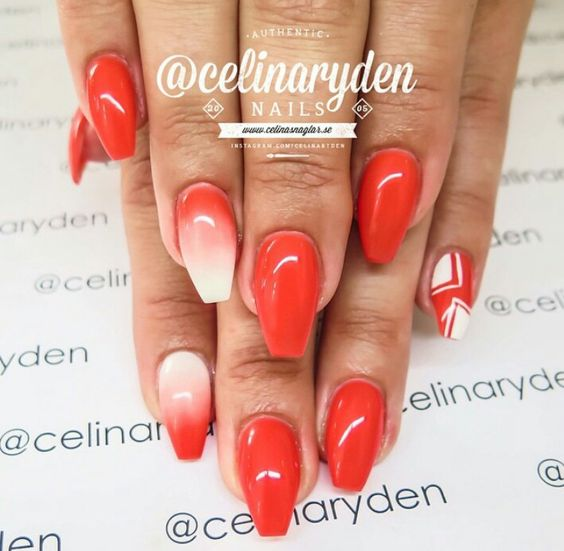 Celina Ryden nails | white red ombre
