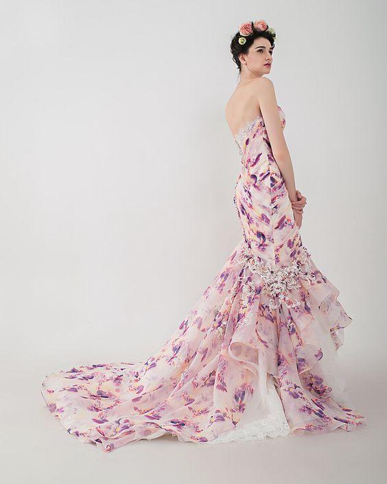 "Anny Lin Bridal ""Vasanti"" silk organza mermaid with handcrafted flowers embellishment.:"