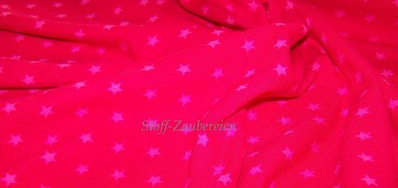 Baumwolljersey mini Sterne Stars himbeer rosa von Stoff-Zaubereien auf DaWanda.com