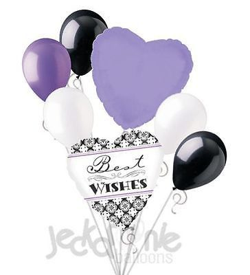 7 pc Damask Best Wishes Balloon Bouquet Party Decoration Bridal Wedding Lavender