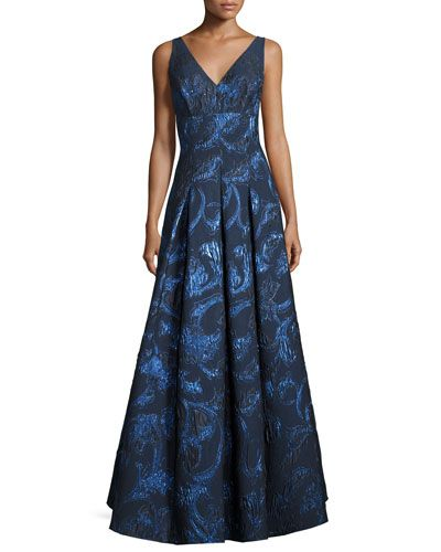 TCY5W Aidan Mattox Sleeveless Pleated Metallic Brocade Gown, Navy/Multicolor