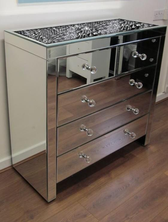 Floating Crystal On Top 5 Drawer Chest