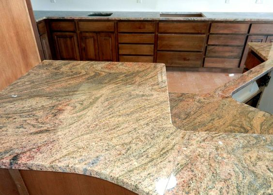 images of finished exotic granite in kitchens | Yellow Juparana Granite Kitchen Countertop Bartop Finished Installed ...