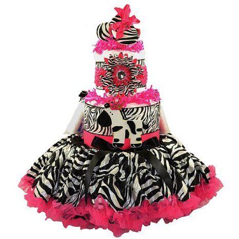Buy Sassy Hot Pink and Black 3 Tier Zebra Tutu Diaper Cake in ...