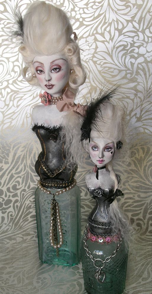 Vintage Glass Bottle Art Doll Sculpt: