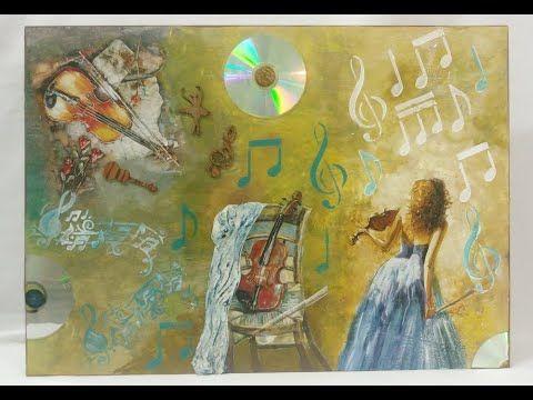 ديكوباج عازفة الجيتار ميكس ميديا في تابلوه مميز Art Dress Medium Art Art