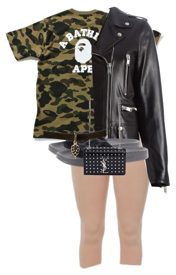 """Untitled #1871"" by princess-maya13 ❤ liked on Polyvore featuring A BATHING APE, Yves Saint Laurent and Puma"